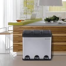 poubelle recyclage cuisine songmics 54l poubelle de cuisine résistante avec pédales et 3