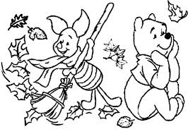 piglet raking leaves while winnie daydreaming in autumn coloring