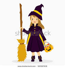 Halloween Witch Costumes Girls Candy Corn Halloween Black Witch Costume Stock Vector 590041829