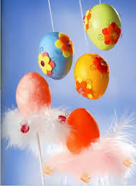 easter egg craft ideas hanging ornaments felt flowers wire