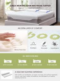 Full Size Memory Foam Mattress Topper Amazon Com Langria 3 Inch Twin Memory Foam Mattress Topper With