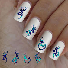deer camo nail art blue turquoise 60 waterslide stickers decal