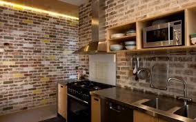 good looking industrial brick kitchen featuring orange bricks wall