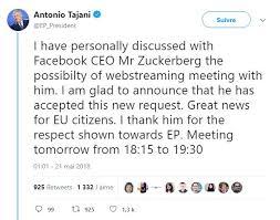 parlement europ n si e l entretien de zuckerberg au parlement européen retransmis