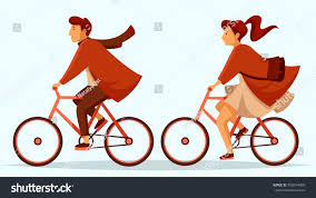 bicycle coat elegant man woman riding bicycles man stock vector 558074890