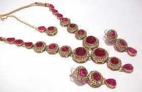color stone necklace images Buy dark pink color stone round necklace set online JPG