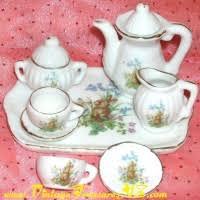 bunny tea set tea set service miniature 10 pieces easter bunny rabbit butterfly