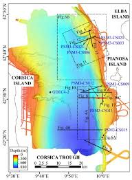 Corsica Map Multibeam Bathymetric Map Of The Corsica Trough With The