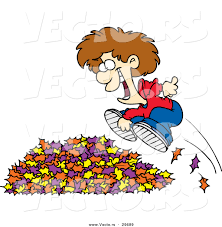 vector of a happy cartoon boy jumping in to a pile of autumn