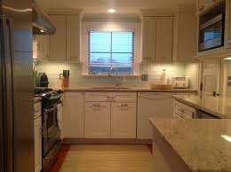 kitchen backsplash glass tile design vintage gray wooden kitchen cabinet mixed blue subway tile