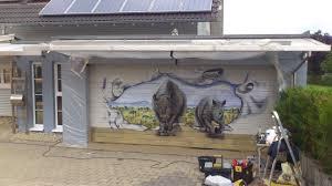 garagentor design airbrush pur nashörner am garagentor garagentore