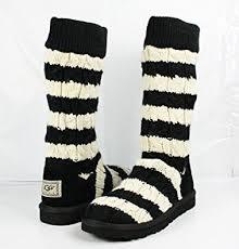 amazon com ugg s black amazon com ugg stripe cable knit boots womens