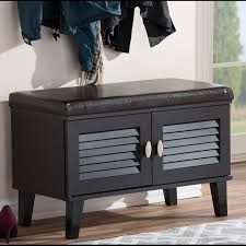 Baxton Studio Glidden Shoe Cabinet by Sheffield Dark Brown 2 Louvered Door Shoe Cabinet With Drawer