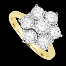 diamond flower rings images 18ct gold 7 diamond flower cluster ring PNG