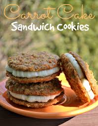 carrot cake sandwich cookies with cream cheese frosting the
