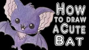 how to draw a super cute bat youtube
