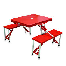 picnic tables folding with seats picnic time portable folding red plastic outdoor patio picnic table