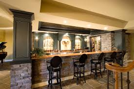 yellow interior design home basement bar ideas with stoned mini