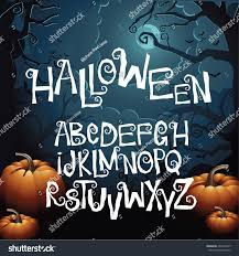 halloween hand drawn creepy curly font stock vector 497447857