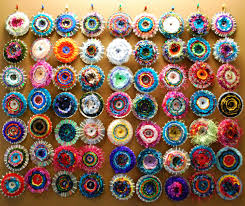 amazing weavings on old cds what a great idea for the wall at the