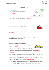 Speed Velocity And Acceleration Worksheet With Answers Aqa Gcse Physics 1 9 Speed Velocity Acceleration Motion