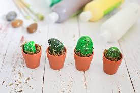 Kitchen Cactus Mini Painted Rock Cactus Craft Decor Behind The Camera And
