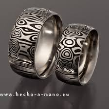 damascus steel wedding band eos hecho a mano