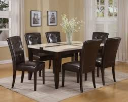 Espresso Dining Room Set by Acme Justin White Faux Marble Top Dining Table Set In Espresso By