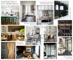 mood board industrial inspiration for an nyc apartment design
