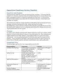 operational readiness review checklist computing technology
