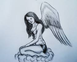 how to draw sitting angel fast draw youtube