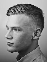 short hairstylemen clippers side comb hairstyle with a 1 on sides and a side line with