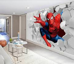 large scale murals 3d spider man cartoon bedroom television