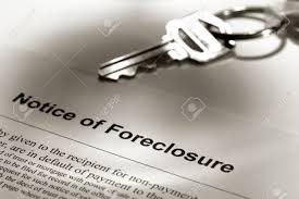 real estate foreclosure notice with house key stock photo picture