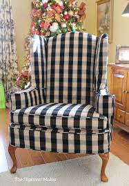 gray chair slipcover wing chair slipcover in buffalo check the slipcover maker