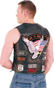 motorcycle riding vest all patched up leather motorcycle vest vm14pp