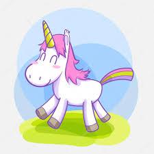 unicorn smile standing vector cartoon u2014 stock vector soulgie