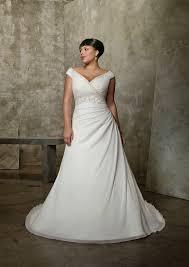 v neck beading chiffon chapel train plus size wedding dress on