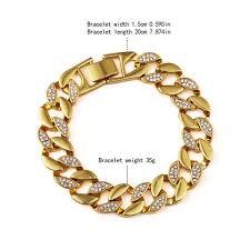 bracelet fashion design images Fashion design charms male cuban chains bracelets men crystal punk jpg