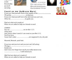 Count On You By Bruno Mars Worksheet Count On Me By Bruno Mars Friendship