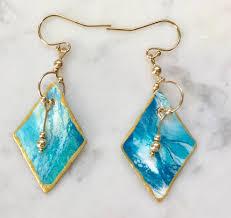 original earrings annemarie ridderhof original diamond earrings teal blue foam