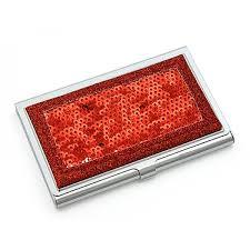 Bling Business Card Holder Card Holder Sequined Red