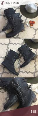 womens black combat boots size 11 madden womens eloisee combat boot brand with box heel is