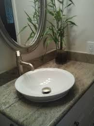 Powder Room Vanity Sink Cabinets - raised sink with granite vanity top contemporary powder room