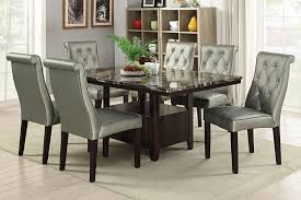 marble top dining table set poundex f2460 1759 7 pc arenth collection espresso finish wood faux