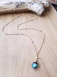 vintage blue stone necklace images Long blue romance blue stone pearl necklace anything 39 s possible jpg