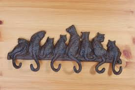 brown black oak coat hooks wall mounted with cat tail shaped
