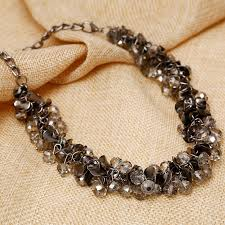 black beaded choker necklace images Buy vintage gun black clear acrylic stone pendant jpg
