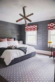 charcoal gray bedroom with red accents contemporary bedroom