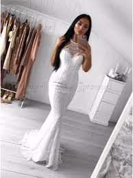 white lace prom dress buy mermaid crew sweep white lace prom dress with pearls for